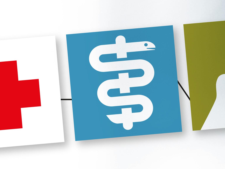 drei Icons für das Ärztehaus Lauenburg auf Lauenburger Silhouette