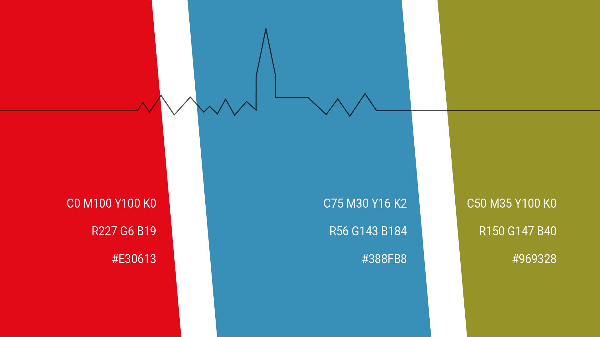 drei Farbbalken der Hausfarben Rot, Blau und Grün des Ärztehaus Lauenburg