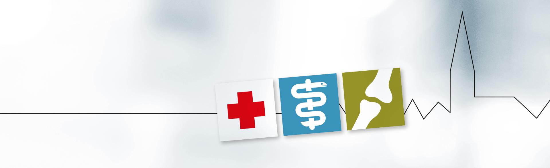 Logo des Ärztehaus Lauenburg mit der Skyline Lauenburgs, einem Icon mit rotem Kreuz, einem Icon mit Äskulapstab und einem Icon mit einem Knochengelenk