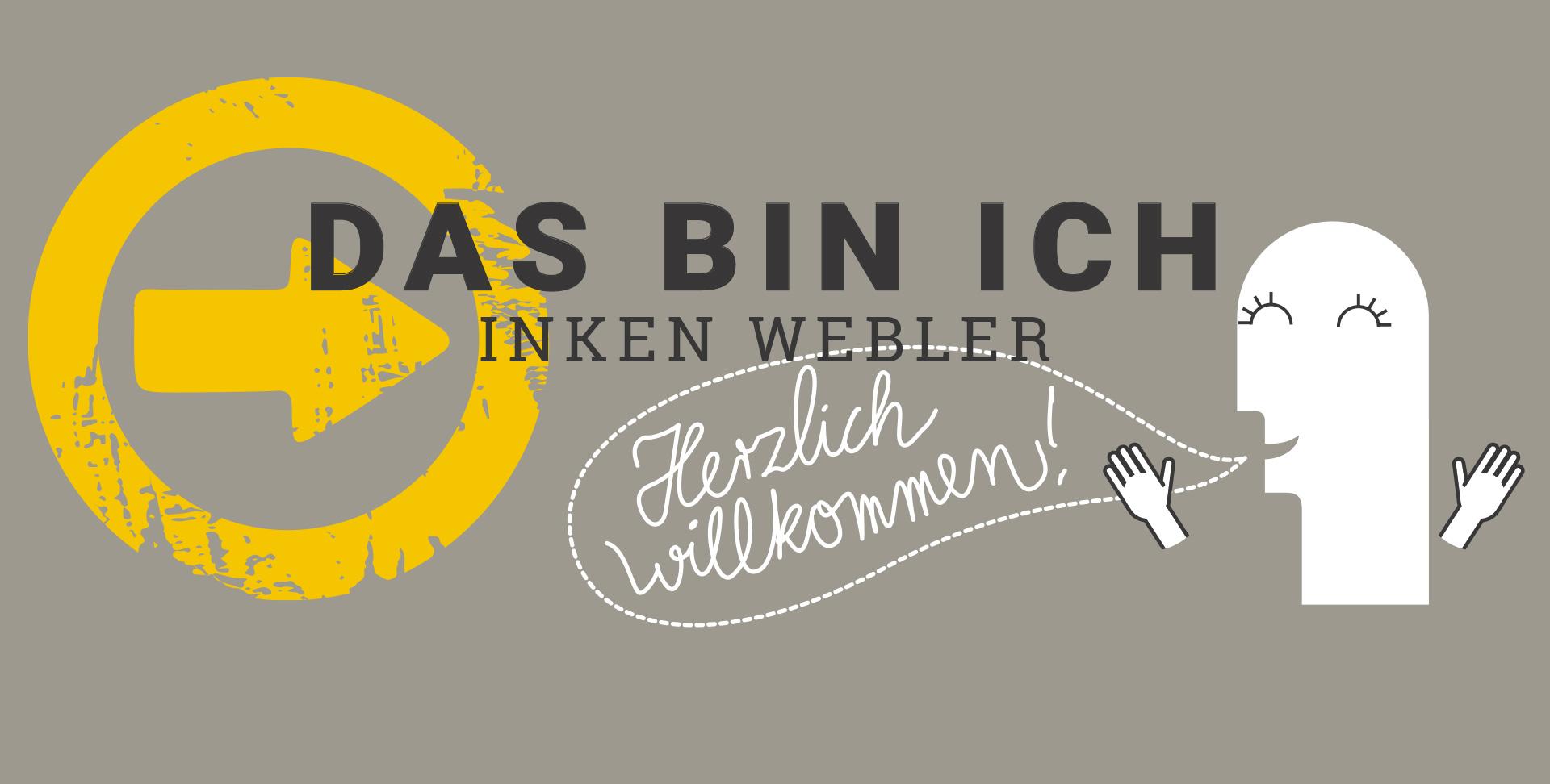 Schriftzug Das bin ich - Inken Webler, darunter ein sich freuendes Männchen mit einer Sprechblase: Herzlich willkommen!