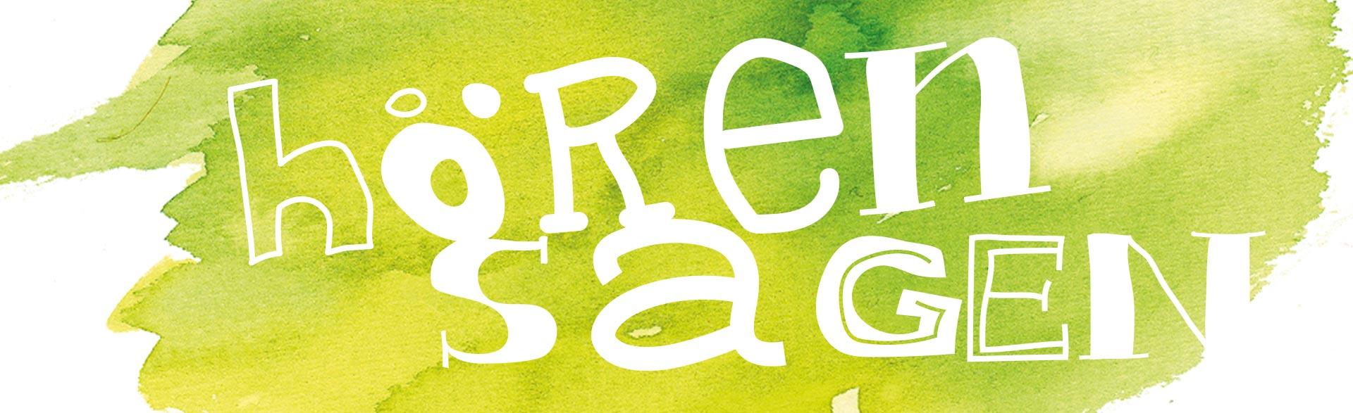 weißer handgeschriebener Schriftzug hörensagen auf grünem Aquarellhintergrund