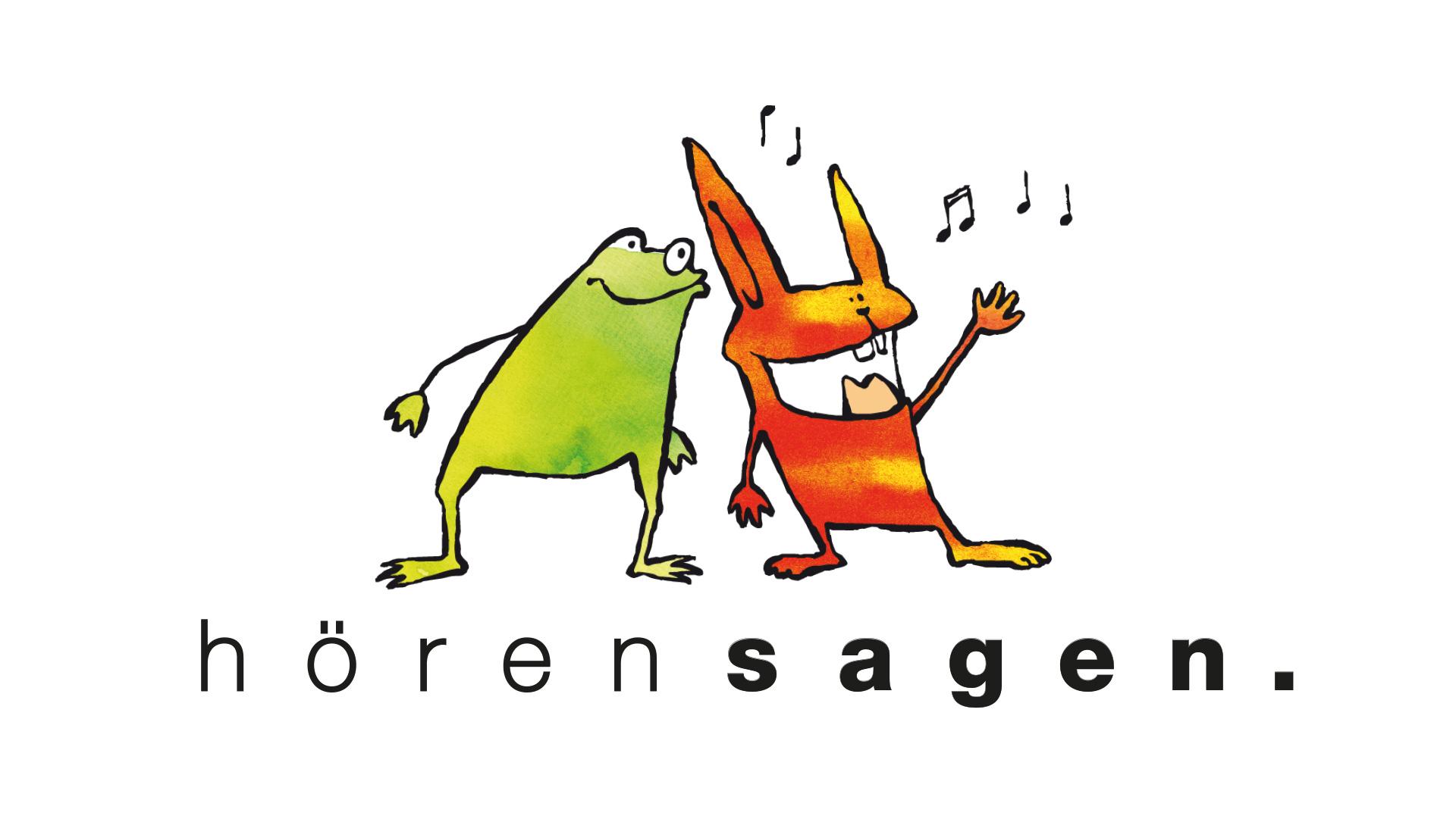 Logo hörensagen - Ein Frosch, der einem Hasen etwas ins Ohr flüstert. Und ein Hase, der das Gehörte lauthals herausplaudert.
