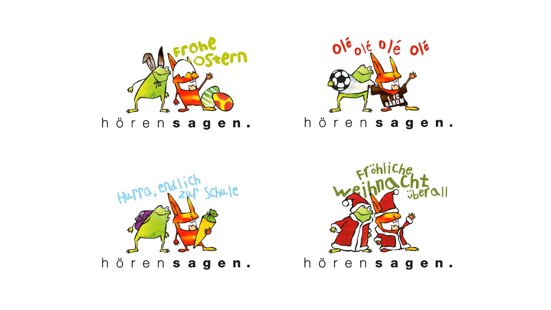 4 Logovarianten des Logos hörensagen zu diversen Anlässen - Ostern, Fussball-WM, Schulanfang und Weihnachten