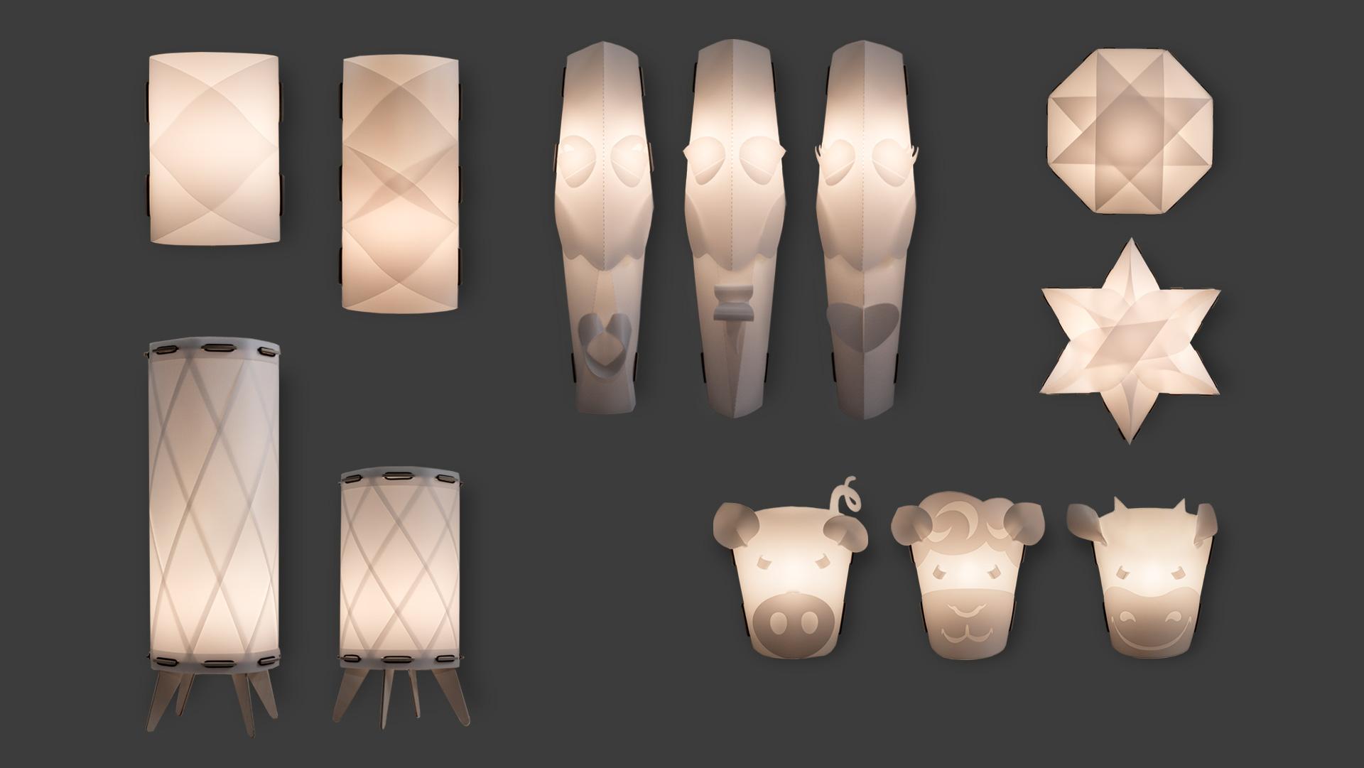 unterschiedliche Lampenmotive der bei Werkhaus vertriebenen Stecklampen. Ornamentlampen hängend und stehend, Ethnolampen in Maseknform, Sternlampe, Achtecklampe, Tierlampen Motive Schwein, Schaf und Kuh