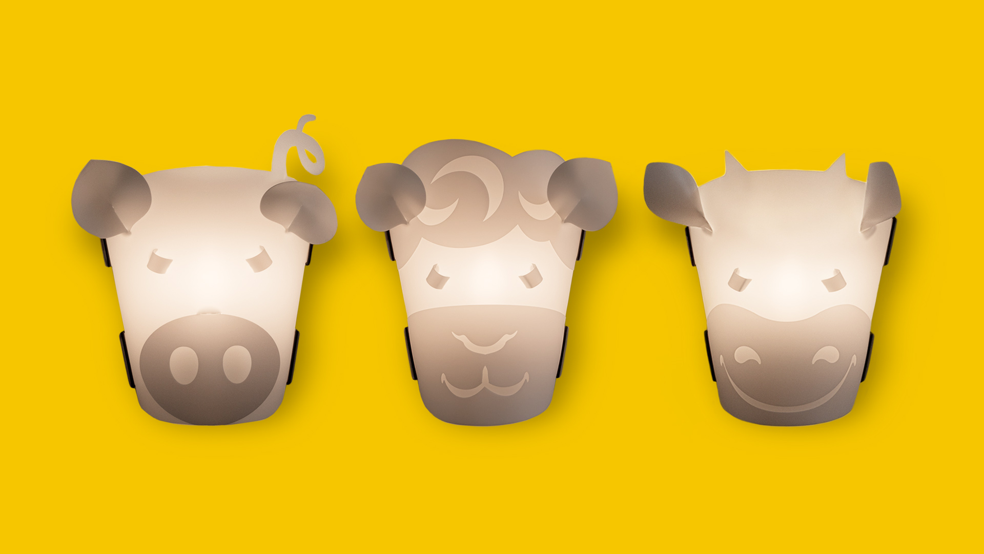 Lampen Tiermotive Schwein, Schaf und Kuh der bei Werkhaus vertriebenen Lampenserie