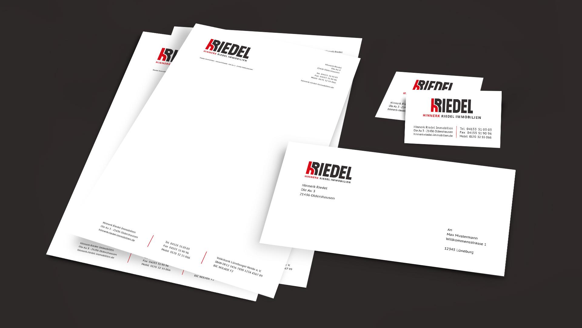 Briefpapier, Briefumschlag und Visitenkarten Hinnerk Riedel Immobilien