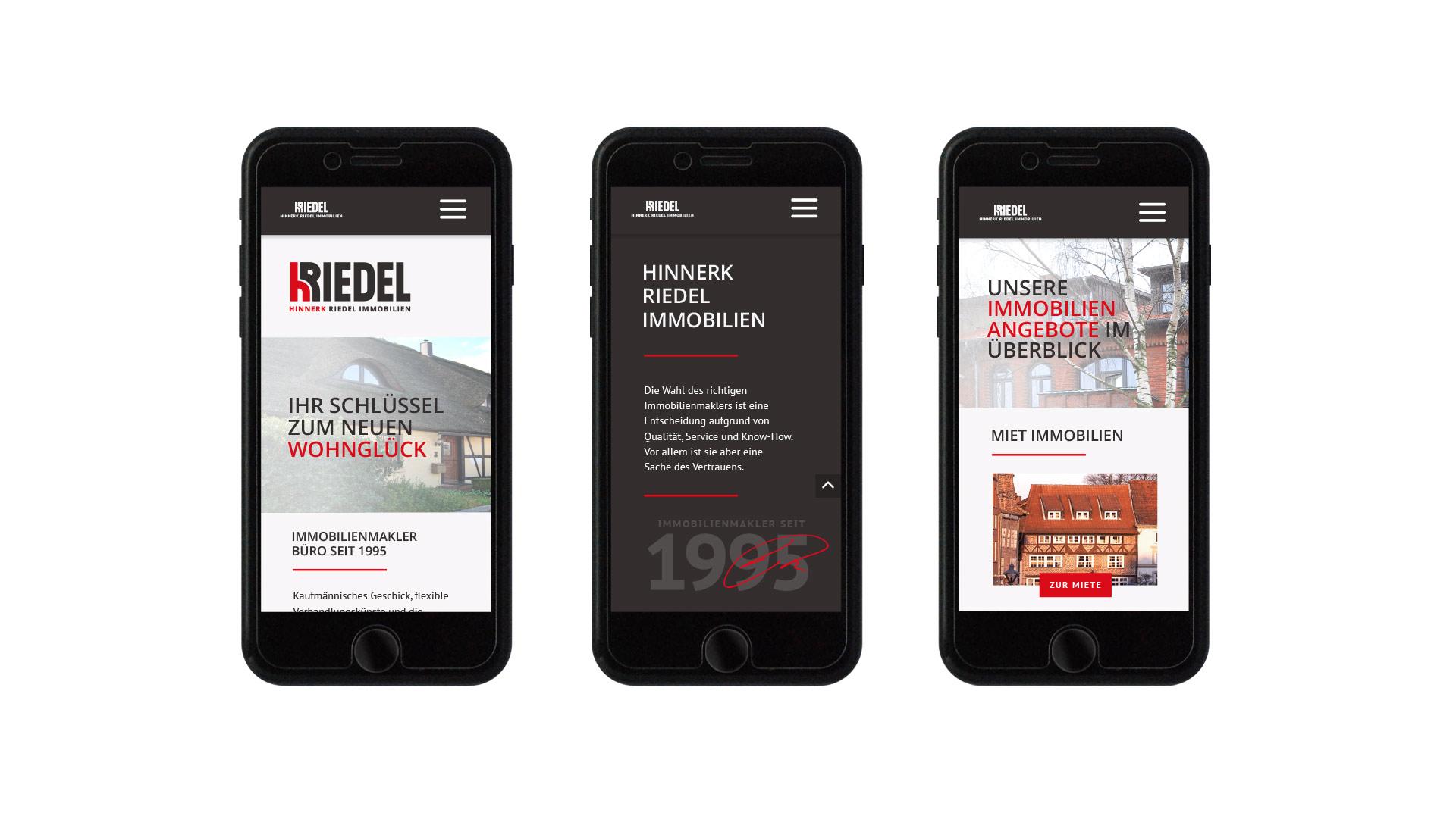 Smartphone-Ansichten der Website Hinnerk Riedel Immobilien