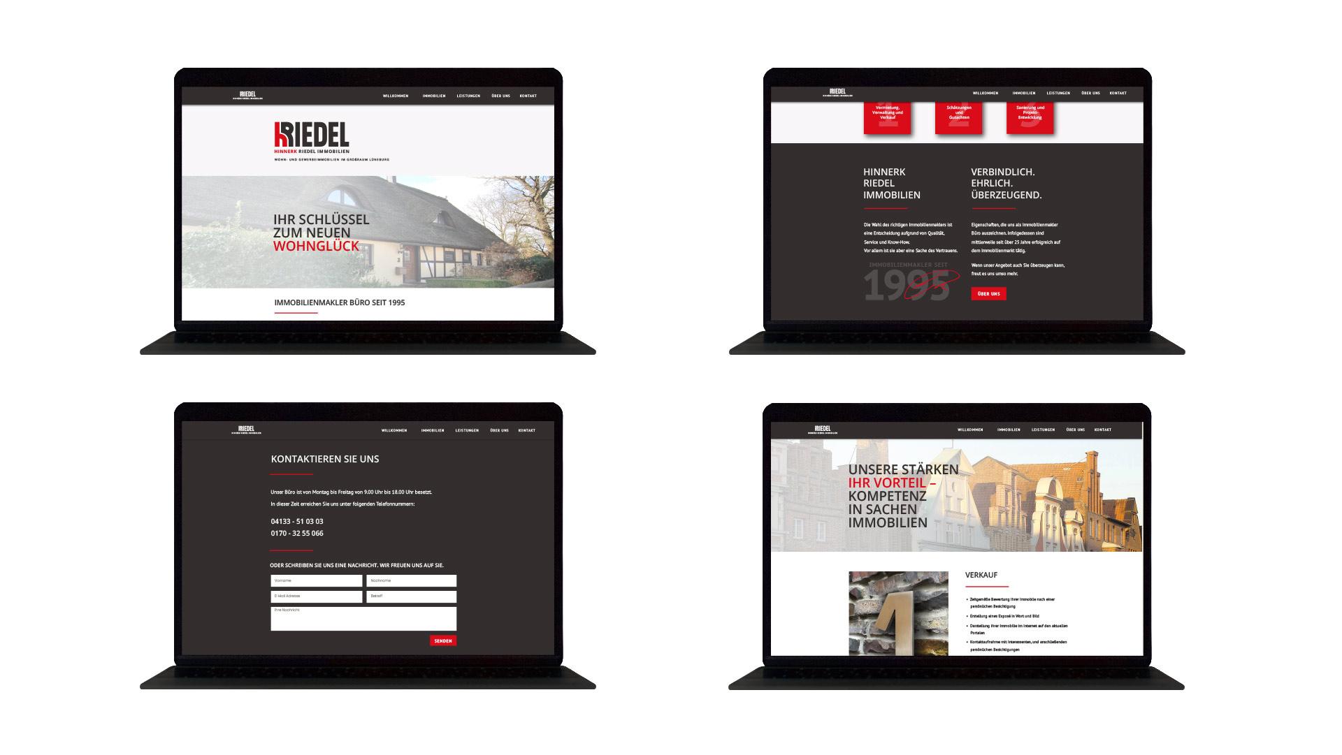 4 Laptop-Ansichten der Website Hinnerk Riedel Immobilien