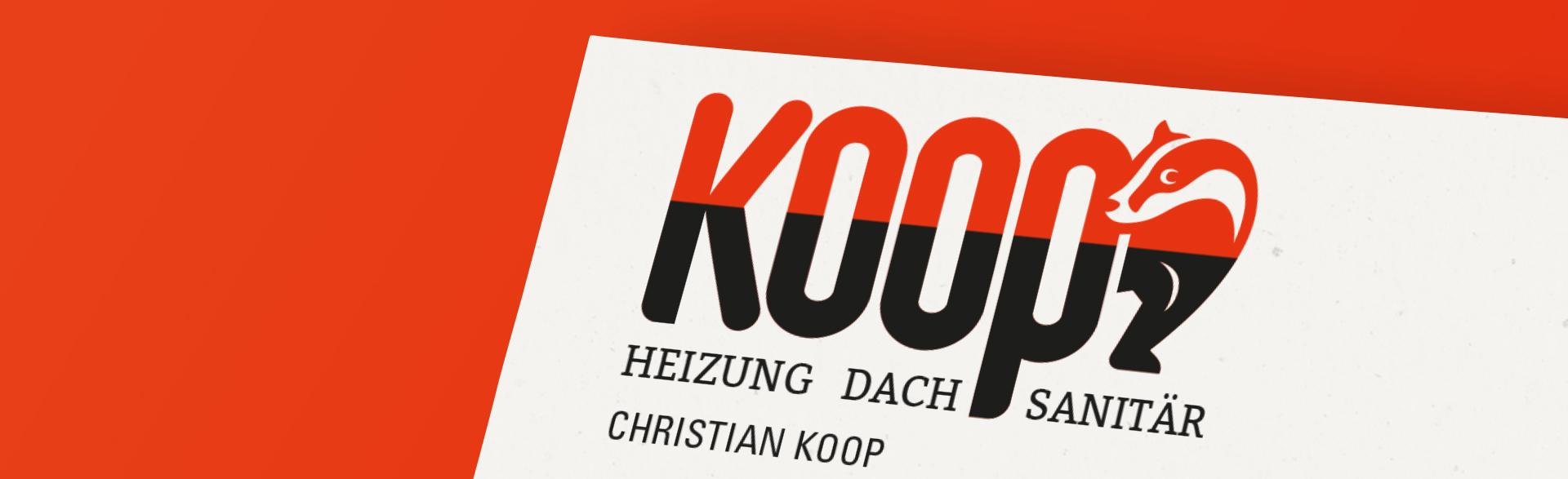 Logo der Firma Sanitärtechnik Koop - Schriftzug Koop mit einem hervorkommenden Dachs hinter dem letzten Buchstaben