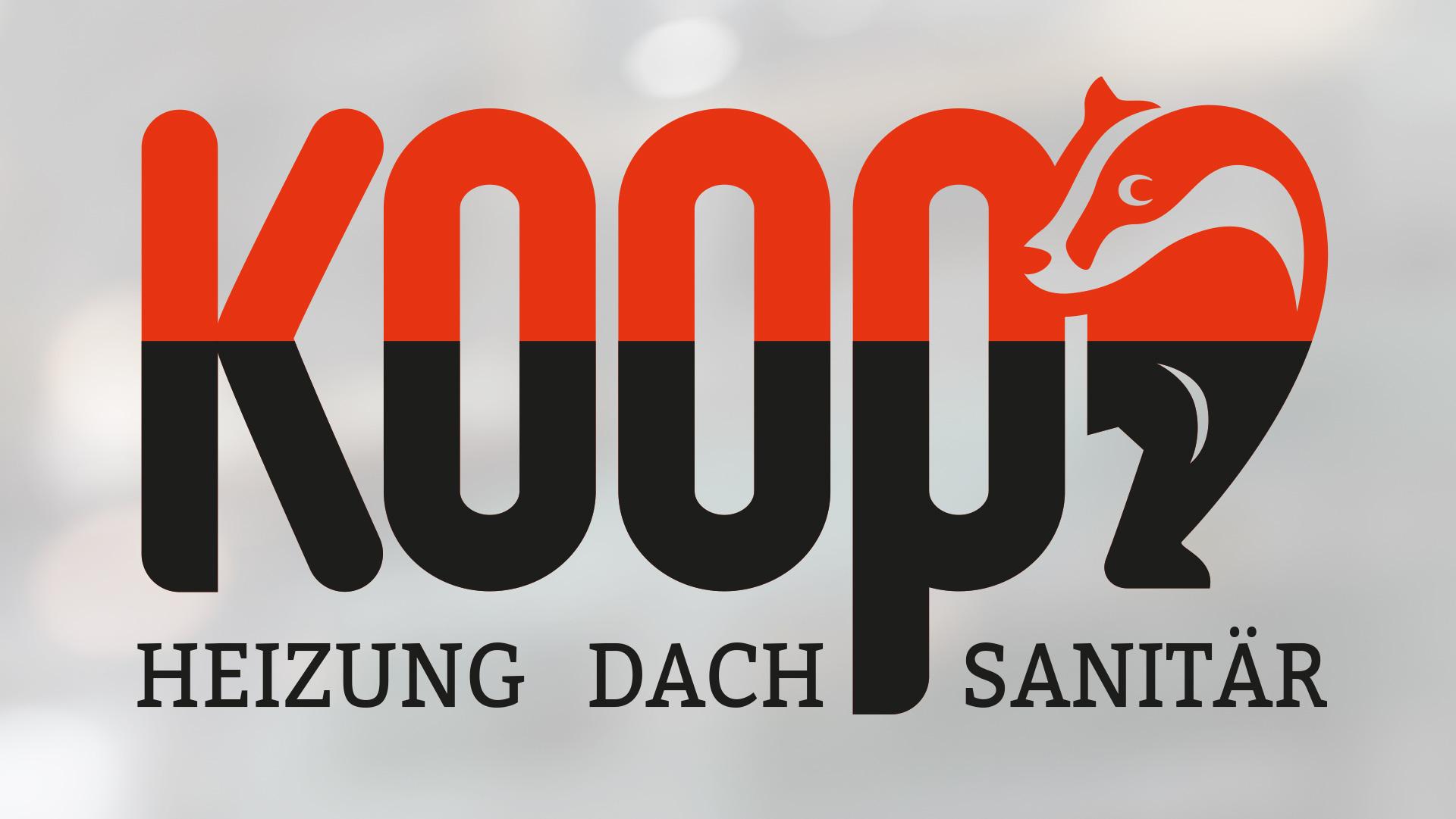 "Schriftzug Koop mit Dachs hinter dem ""p"""