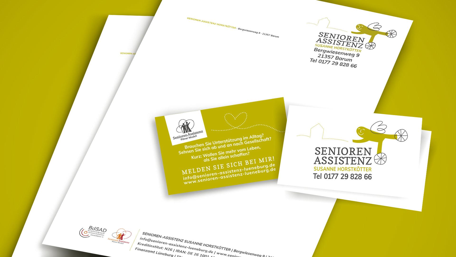 Briefpapier und Visitenkarten der Seniorenassistenz Susanne Horstkötter