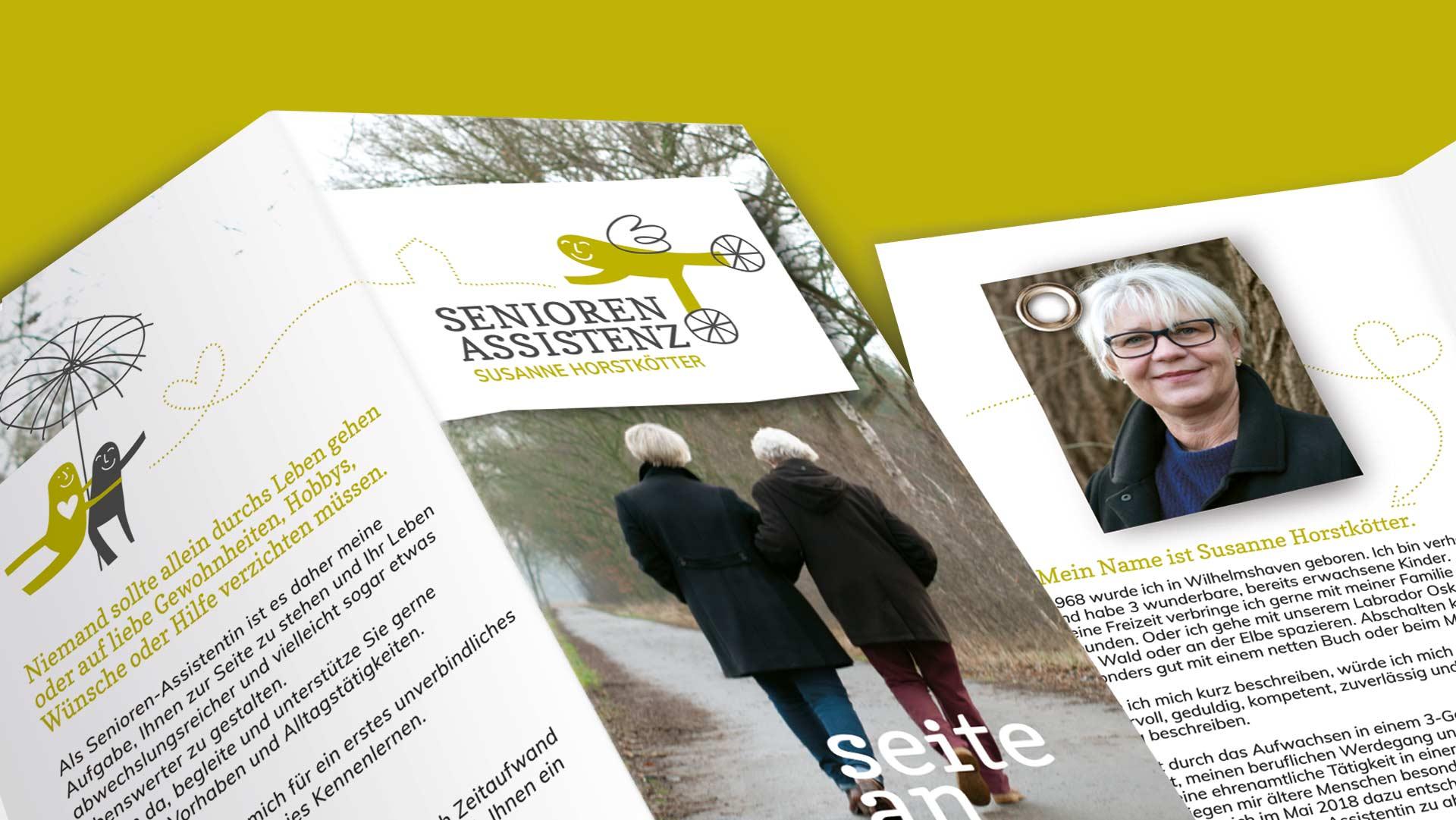 Folder Vorder- und Rückseite der Seniorenassistenz Susanne Horstkötter