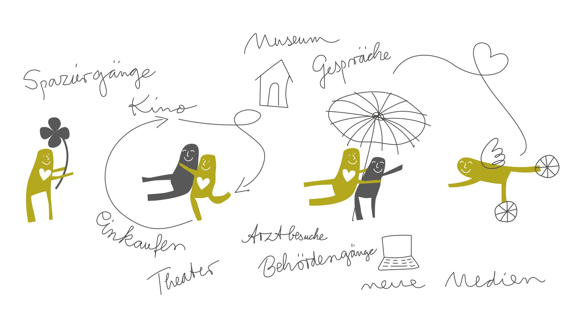 Illustrationen für die Seniorenassistenz Susanne Horstkötter