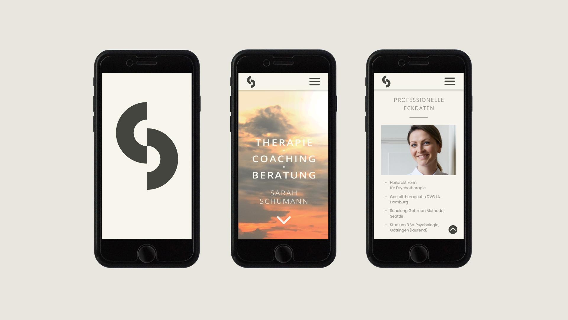 3 Smartphone-Ansichten der Website Therapie Sarah Schumann