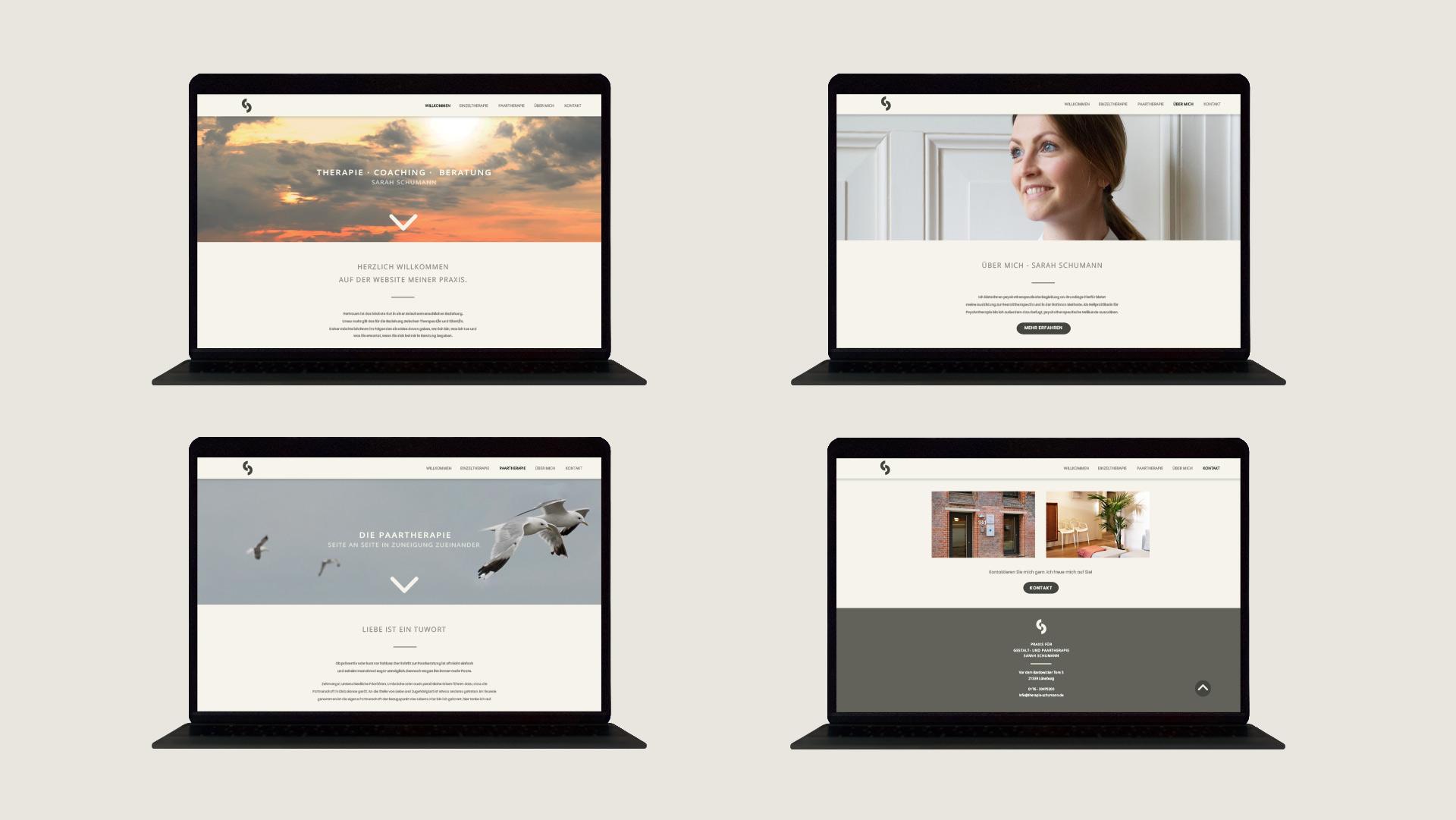 4 unterschiedliche Laptop-Ansichten der Website Therapie Sarah Schumann