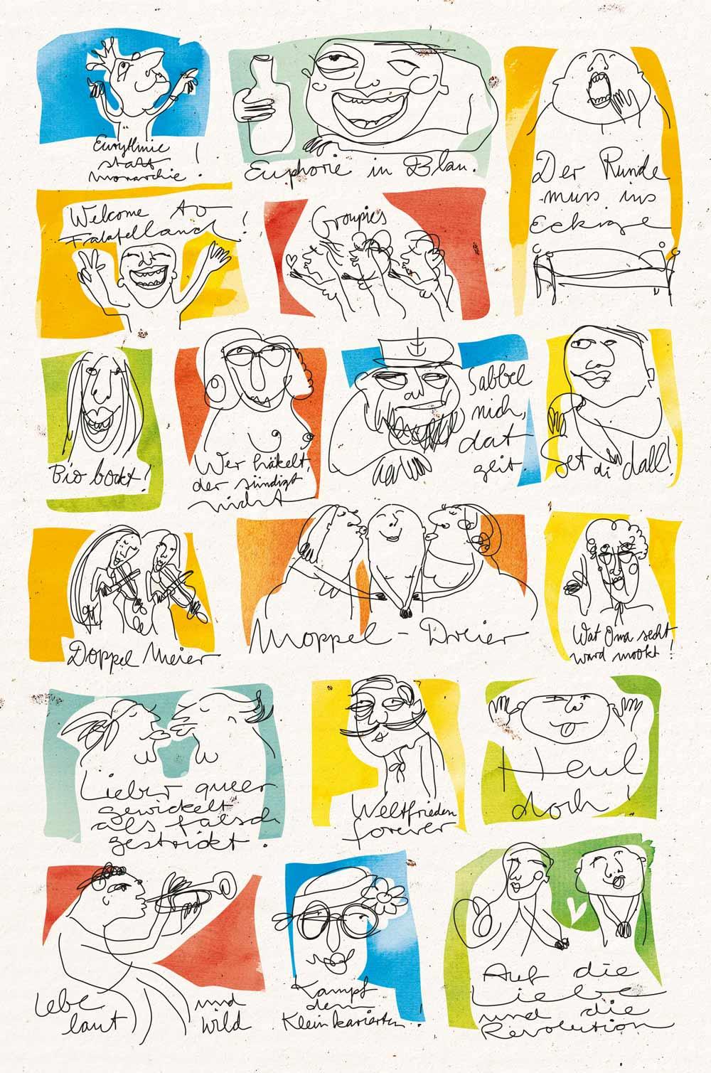 Visitenkarten Lüneburger Fleissarbeit auf gelbem Grund