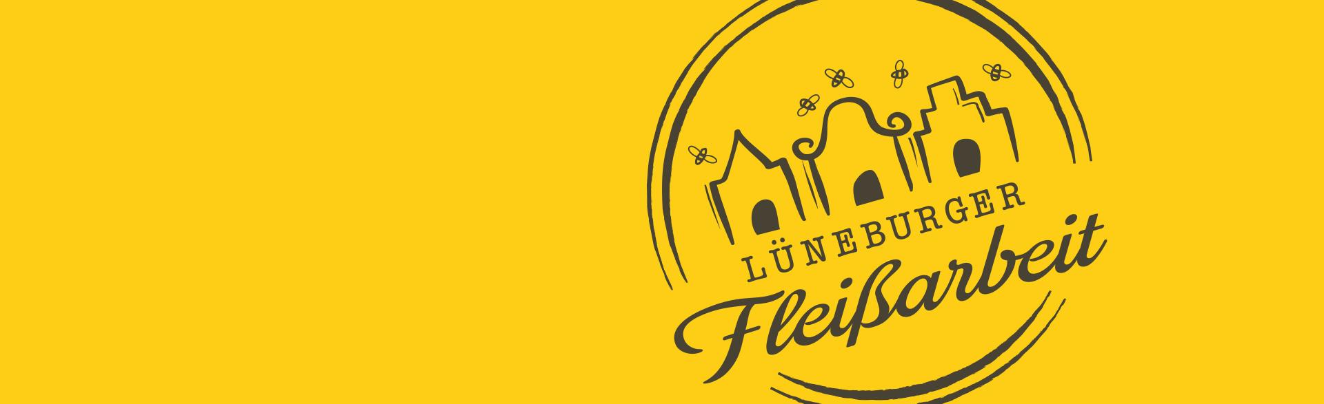 Logo Lüneburger Fleissarbeit auf gelbem Hintergrund