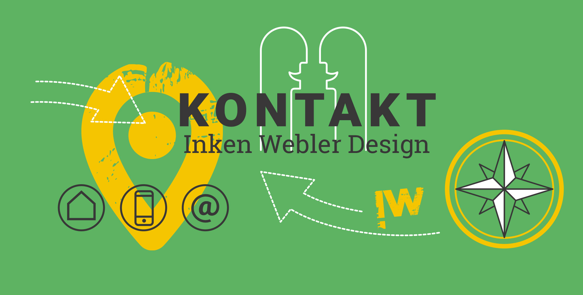 Schriftzug Kontakt Inken Webler Design, darunter zwei Männchen, die miteinander kommunizieren, Kontakt-Icons, eine Windrose, ein Standort-Icon und das Logo IW