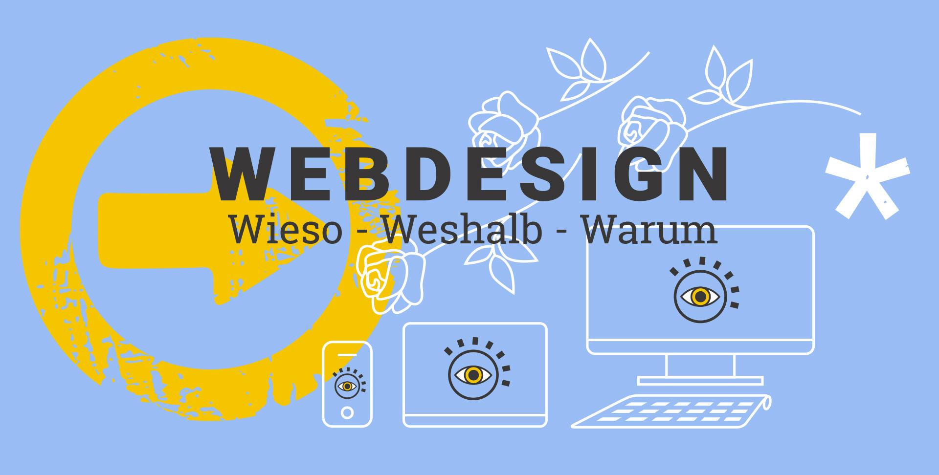 Überzeugendes und funktionelles Webdesign aus Lüneburg - Wieso, weshalb, warum, im blauen Hintergrund ein stilisierter Pfeil, Illustrationen von Smartphone, Tablet und Rechner sowie drei stilisierten geworfenen Rosen als Zeichen des Applauses