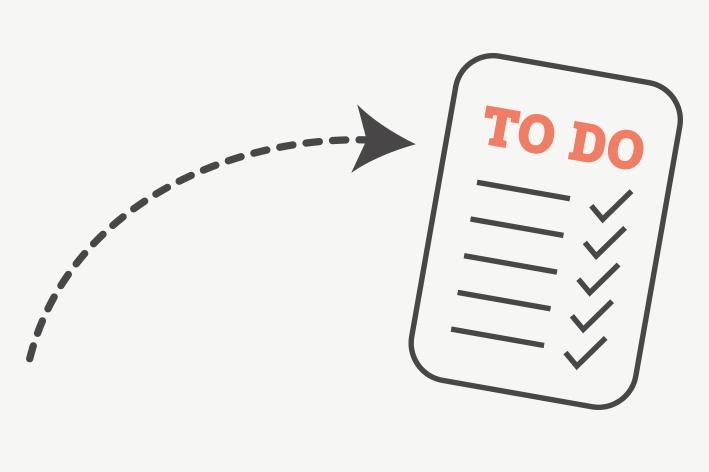 grafisch dargestellte To Do Liste zum Abhaken, um die Inhalte Deiner Website zu fixieren