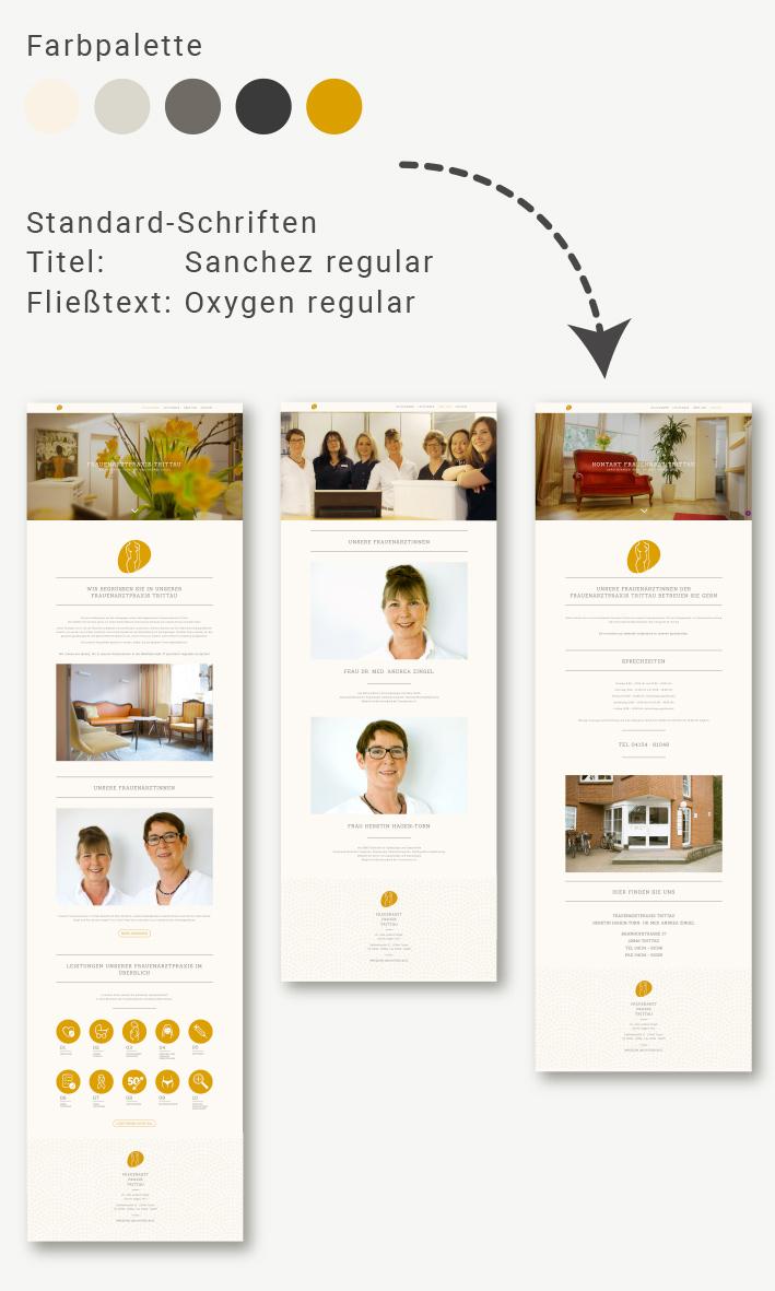 Darstellung einer symbolischen Farbpalette sowie Benennung von Standardschriften und Gestaltung dreier Homepage Seiten zur Veranschaulichung des Arbeitsschrittes