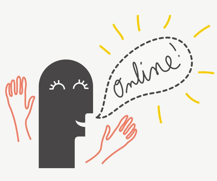 """die Website geht online - glücklich jubelndes Vektormännchen mit einer Sprechblase, in der """"Online!"""" steht"""